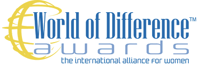 """World of Difference Awards logo with caption """"the international alliance for women"""""""
